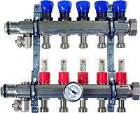 Steel Manifold with Shutoff, Balancing, and Flow Meters