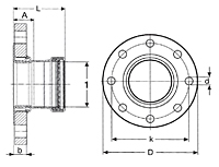 Viega ProPress adapter flange XL Smart Connect feature, Zero Lead Model 0959.5XL_Dimensional