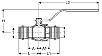 Viega ProPress fittings, Ball valve P x P, Model 2971.1ZL_Dimensional